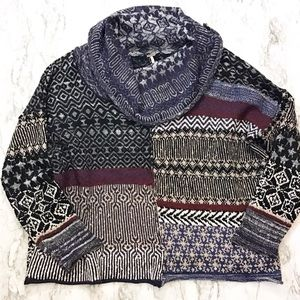Free People Multi Patterned Cowl Neck Sweater